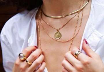 Layered gold coin necklaces