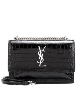 Saint Laurent sunset croc embossed leather bag