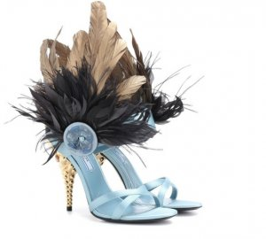 PRADA Feather-trimmed satin sandals € 899