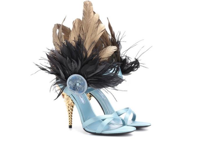 PRADA Feather-trimmed satin sandals € 899