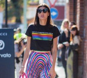 Giovanna Battaglia in rainbow coloured outfit