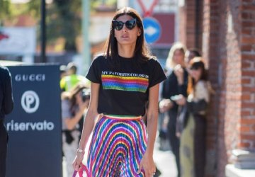 Giovanna Battaglia in rainbow coloured outfit