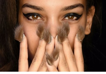 Faux fur is the latest trend for nails.