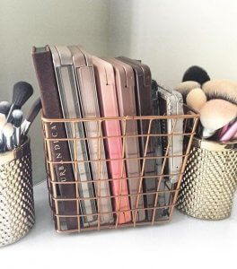 See how to organise your vanity using beauty baskets.