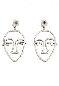 Mango face metal earring