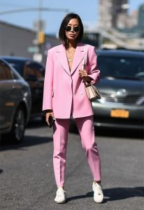 Aimee Song wearing power suit in Pink